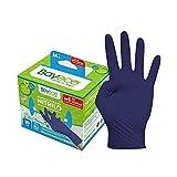 Bayeco - Guantes un solo uso - Nitrilo - Color Azul Oscuro - Ambidiestros - Dedos texturizados para mejor agarre - Aptos para alérgicos al látex - Pack dispensador de 30 unidades - Talla M