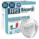 10 Máscarillas FFP3 Homologadas Certificadas CE fabricadas en Italia BFE ≥99% PFE ≥99% Máscarillas ffp3 SANITIZADA sellada individualmente Máscara Homologada ISO