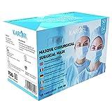KAROFI - Mascarillas Quirúrgicas Tipo IIR (II R, 2R) Medico, 4 Capas, BFE  99%, probadas y aprobadas, certificadas CE EN14683:2019, Caja 50 Unidades