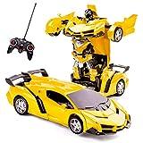 Highttoy Coches de Transformers Control Remoto para Niños,Juguetes Transformers Niños de 3 a 12 Años Coche Robot Teledirigido 2 en 1 Coche RC Robot Transformador con un Clic para Niños Amarillo